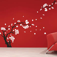 hibiscus wall sticker set large floral wall decor magnolia flower wall sticker