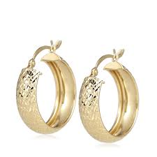 gold earrings uk 9ct gold pineapple cut hoop earrings qvc uk