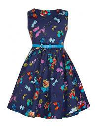 vintage style blue butterfly print swing party dress kids