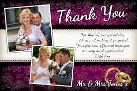 personalised purple u0026 black floral wedding day thank you photo
