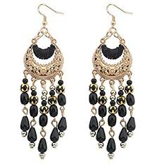 hanging earrings buy stripes gold and black colour hanging earrings online at low