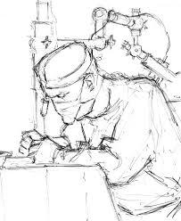 david in the operating theatre drawn by artist trevor heath