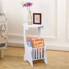 popamazing white round side table with magazine shelf for living