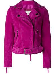 pink motorcycle jacket lanvin suede biker jacket in pink lyst