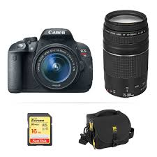 canon eos rebel t5i dslr camera with 18 55mm and 75 300mm b u0026h
