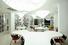 bookcase and meeting area design in contemporary minimalist style