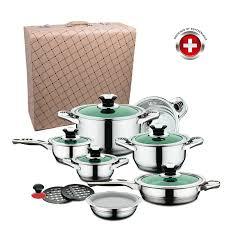 valise cuisine batterie de cuisine 16 pcs vert imperial collection valise