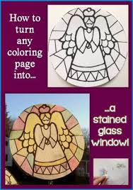 how to turn a coloring page into a stained glass window decoration