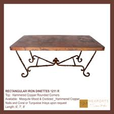 071 rectangular dining table dark rust brown pedestal hammered