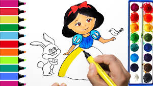 snow white coloring book draw color paint snow white and bunny coloring pages and learn