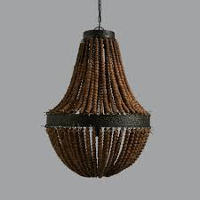 wood bead ceiling light genevieve wooden bead and black zinc chandelier by horsfall wright