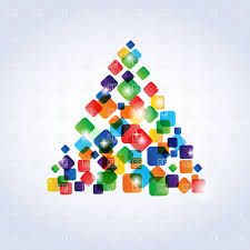 abstract christmas tree made of colorful rectangles vector image