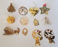 vintage vintage brass christmas ornament lot of 12 filigree 3d