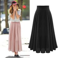 lange rok summer 2018 fashion casual pleated skirts womens