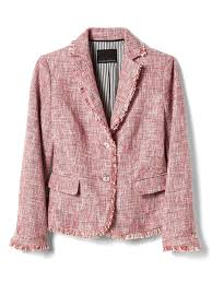 pink tweed fringe blazer banana republic dress to impress