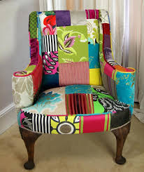 funky armchair funky chair recovered in fabric on the seat and a