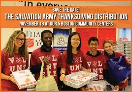 volunteer with the salvation army thanksgiving distribution event