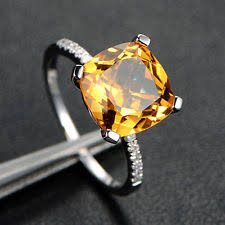 citrine engagement rings citrine 14k yellow gold solitaire with accents gemstone engagement