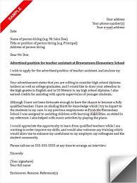 cover letter for teacher assistant position