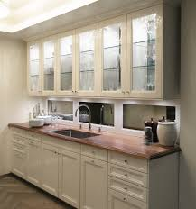 Small Galley Kitchen Ideas Awesome White Wooden Kitchen Cabinet Set With Mirror Backsplash