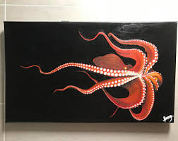 acrylic octopus ring holder images Acrylic sea painting etsy jpg