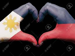 Filipino Flag Colors Tourist Made Gesture By Philippines Flag Colored Hands Showing