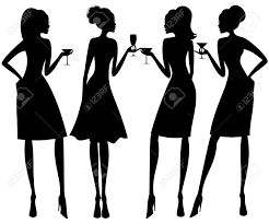 vector illustration of four young elegant women at a cocktail