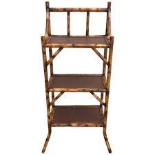 Heywood Wakefield Bamboo by Three Tiered Scorched Bamboo Etagere With Espresso Rattan Shelves