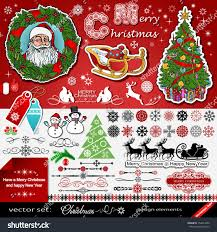 New Year Decoration Elements by Christmas New Year Decorations Vector Set Stock Vector 154654250