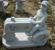 farmer on tractor cement garden statue garden statues