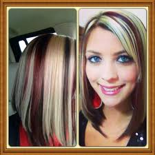 hairstyles short on top long on bottom stunning copper lob with blonde highlights hair by image for red and