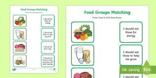 food group matching activity worksheet healthy eating food