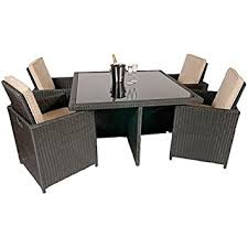 rattan garden furniture outdoor patio 9 piece cube set with glass
