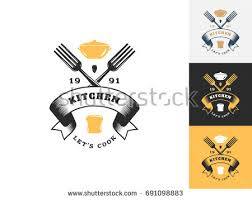 Kitchen Logo Design Vintage Kitchen Logo Design Template Vector Stock Vector 691098883