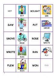 english worksheet domino cards past simple irregular verbs