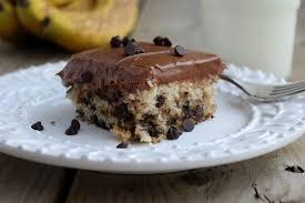banana chocolate chip cake with chocolate cream cheese frosting