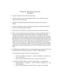 Mitosis And The Cell Cycle Worksheet Lab The Cell Cycle And Cancer