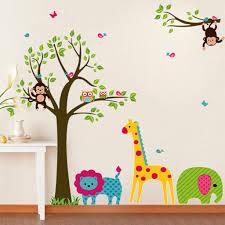 popular tree mural nursery buy cheap tree mural nursery lots from giraffe elephant monkey cartoon tree wall stickers diy animal tree lion wall sticker vinyl mural kids