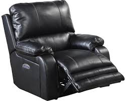 Black Leather Recliner Chairs Thornton Power Headrest Power Lay Flat Recliner In Black