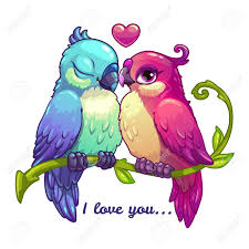 imagenes animadas sobre amor pares de los pájaros lindos en amor ilustración vectorial de