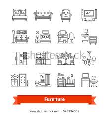 home decor line furniture home decor thin line stock vector 543934069