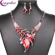 red necklace set images Fashion red enamel jewelry set statement necklace stud earrings jpg