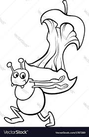 ant with apple core coloring page royalty free vector image