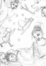 story drawings for the broken path masha