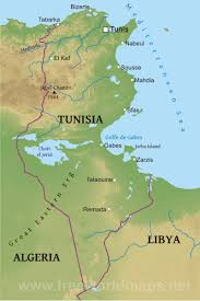 Physical Africa Map by Tunisia Physical Map
