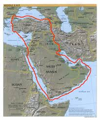 Map Of The Middle East With Capitals by The Red Line Agreement