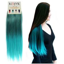 kisspat turquoise green full head clip in ombre color font b hair