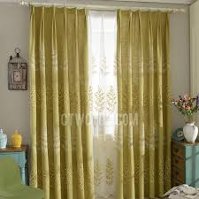 yellow botanical embroidery linen cotton pinch pleated country