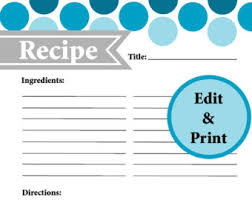 recipe binder pages etsy