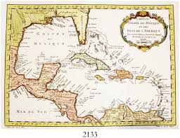 Map Of The Caribbean 1754 Dated French Map Of The Caribbean By Jacques Nicolas Bellin